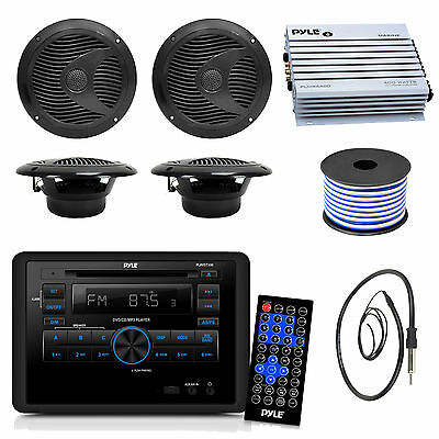 "Black Pyle 6.5"" 150W Speakers, DVD CD RV Wall Radio, Antenna, 400W Amplifier"