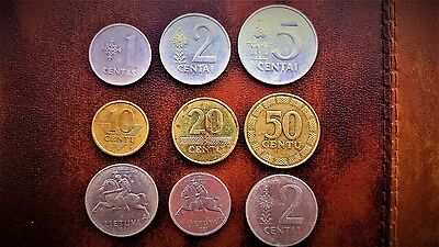 Lithuania 1,2,5,10,20,50 cents 1991,2000,08