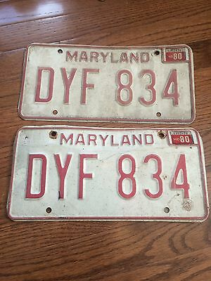 maryland license plate 1980 dyf834