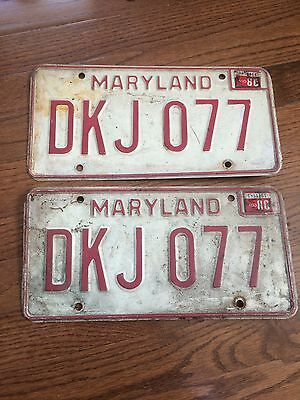 maryland license plate 1980 dkj077