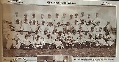 1928 NY Times newspaper w lg NEW YORK YANKEES Team Picture BABE RUTH Lou Gehrig