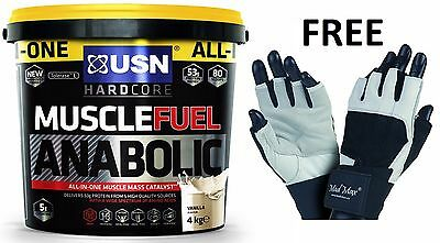 USN Muscle Fuel Anabolic All In One Lean Muscle 4kg + FREE GYM GLOVES with wraps