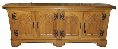 Antique French Gothic Dining Room Server Solid Oak Rustic Country Design