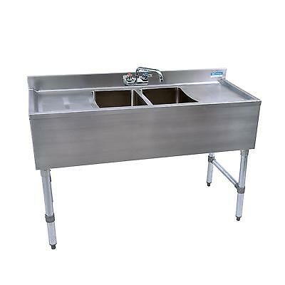 "Bk Resources 48""wx18-1/4""d Stainless Steel Slimline Underbar Sink - Bkubw-248Ts"