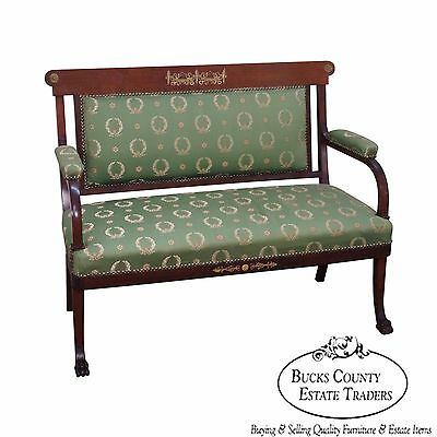 Antique Classical Empire Mahogany Bronze Mount Claw Foot Canape Settee