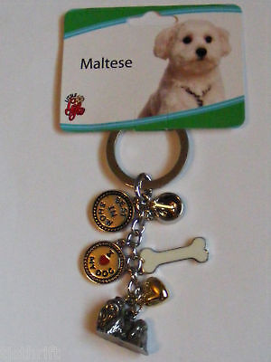 "Metal Charms Maltese Dog Key Chain Ring 4"" New"