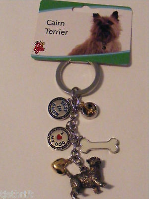 """Metal 6-Charm Cairn Terrier Dog Key Chain Ring 4.5"""" New"""