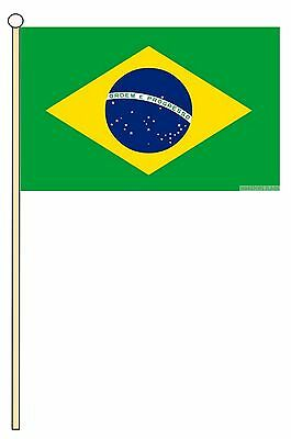 "BRAZIL 18"" x 12"" LARGE HAND WAVING COURTESY FLAG & POLE BRAZILIAN"