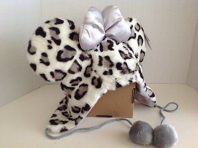DISNEY Parks Minnie Mouse Cheetah Leopard Fur Hat with Bow & Ears NWT