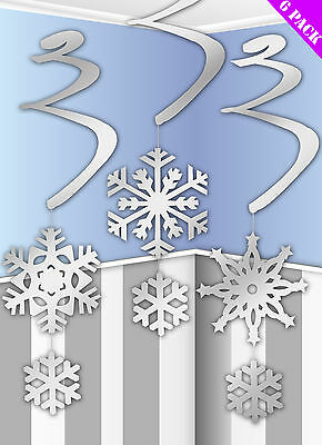 6 x Christmas hanging snowflake decorations Swirls Frozen Party Decorations