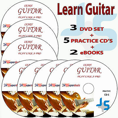 Learn How to Play GUITAR Video Tutorials Lessons on 3 DVD Video + 5 Practice CD