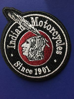 """Indian Motorcycle Embroidered """"arrow-Brave"""" Round Patch 3"""" Ron/sew Pristine!"""