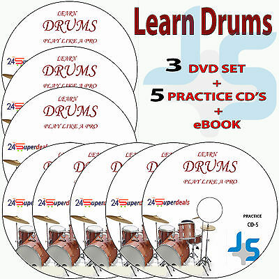 Learn How to Play DRUMS Video Tutorials Lessons on 3 DVD Video + 5 Practice CD