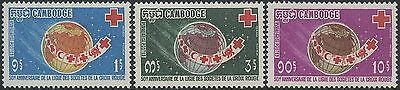 CAMBODGE N°222/224** Croix-Rouge 1969, CAMBODIA Red Cross Sc#207-209 MNH