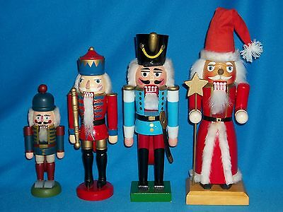 Christmas - Solid Wood - Working Nutcrackers - Lot Of 4