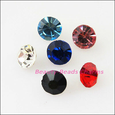 100Pcs Mixed Faceted Round Glass Crystal Rhinestone Pointed Back 4mm