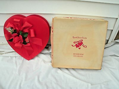 Vintage Valentine Red Heart Chocolate Candy Box ~ Plastic Rose-2lb Russel Stover