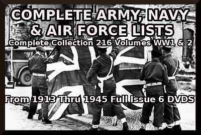 Complete British Army-Royal Navy-Royal Airforce Lists - 216 Volumes On 9 Disks