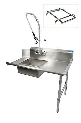 "BK Resources 72"" Soiled Dishtable Right w/ Pre-Rinse Faucet & Rack Guide"
