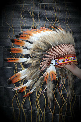 Trois couleurs Coiffe chef brun Feather indien / native american Warbonnet