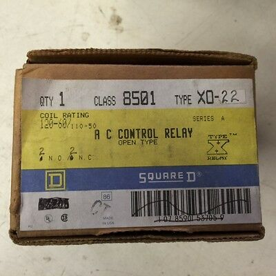 8501X022V02 New In Box - Square D Ac Control Relay Series A 120V Coil