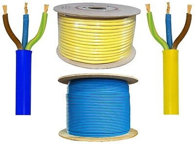 3 Core Arctic Flex Wire Cable 5m 20m 100m Blue Yellow 1.5mm 2.5mm 4mm 110v 240v