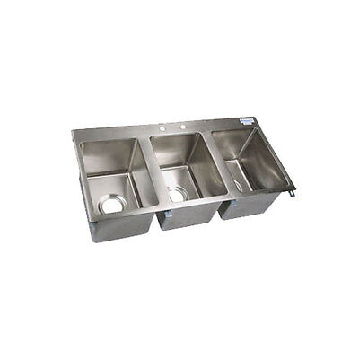 "BK Resources BK-DIS-1014-3 Three Compartment 36x18"" Stainless Steel Drop-In Sink"