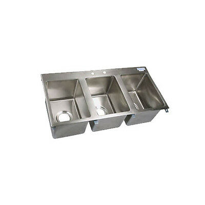 "Bk Resources Three Compartment 36X18"" Stainless Steel Drop-In Sink - Bk-Dis-1014"
