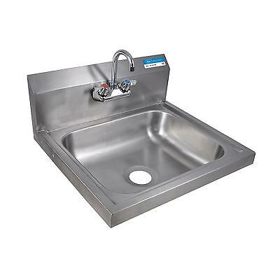 "BK Resources 20""W Wall Mount Hand Sink 3-1/2"" Gooseneck Spout Faucet"