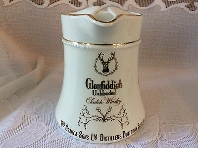GLENFIDDICH Scotch Whiskey Advertising Pottery Pitcher ~ Great Britain Made Jug