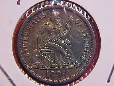 1891 Liberty Seated Dime - Nice Color - Au - See Pics! - (N5715)