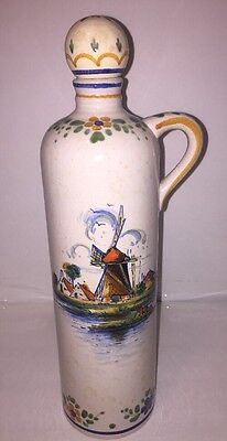 Wine Decanter Jug Holland Antique hand painted signed by artist