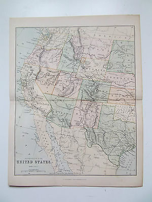 "VINTAGE MAP OF UNITED STATES  c1890- ""THE GALLERY OF GEOGRAPHY"" ATLAS 10X13inch"