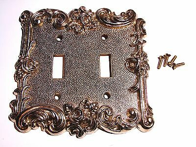 American Tack And Hardware 1967 Double Light Switch Plate Vintage Rose Ornate