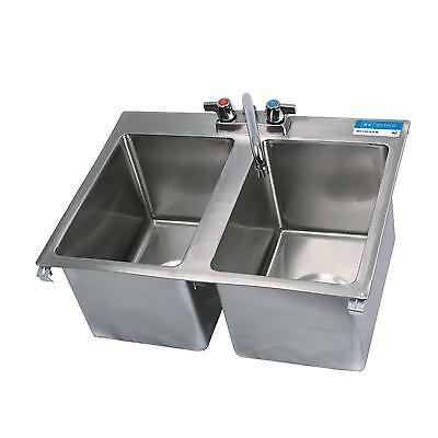 "BK Resources Two Compartment 24""x18"" Stainless Steel Drop-In Sink"