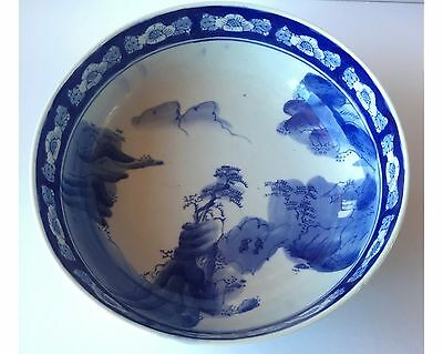 Antique Japanese Edo Arita Ko-Imari Blue & White Bowl