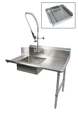 "BK Resources 60"" Soiled Dishtable Right w/ Pre-Rinse Faucet & Basket"