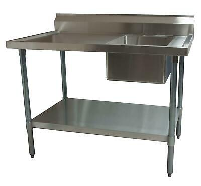 """Bk Resources 60""""wx30""""d Stainless Steel Prep Table W/ Right Side Sink - Bkpt-3060"""