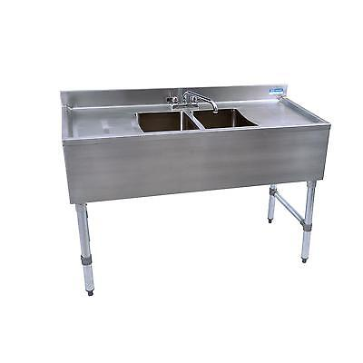 """BK Resources BKUBS-248TS 48""""W Two Compartment Stainless Steel Underbar Sink"""