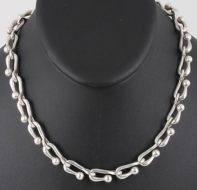 Sterling Silver Zac 01 Heavy Chain Link Choker Necklace Mexico 66.0 Gr 925 0366B