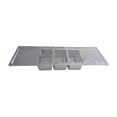 """BK Resources Three Compartment 70-1/8""""""""x20"""" Stainless Steel Drop-In Sink"""