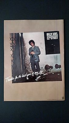 BILLY JOEL 52nd STREET, RARE ORIGINAL PRINT PROMO POSTER AD