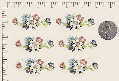 """6 x Waterslide ceramic decals. Decoupage Flowers Approx 2 1/2"""" x 1 1/8"""" PD722"""