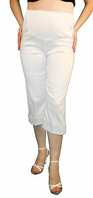 55b876277a618 White Maternity Capri Pregnancy Bottoms Pants Cropped Confy Elastic bad  Cargo