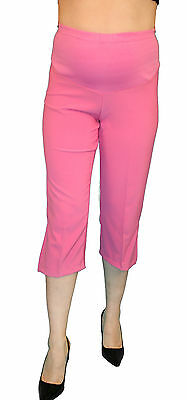 d3419e1d647e2 WHITE MATERNITY CAPRI Pregnancy Bottoms Pants Cropped Confy Elastic ...