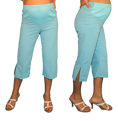 Baby Blue Maternity Capri Pregnancy Bottoms Pants Cropped Confy Elastic