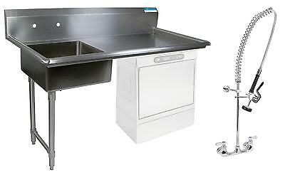 "BK Resources 60"" Undercounter Soiled Dishtable Left w/ Pre-Rinse Faucet"