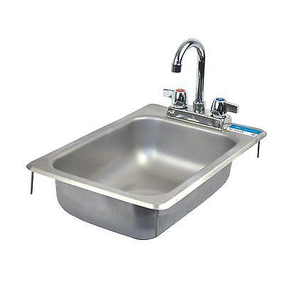 """BK Resources One Compartment 12-1/4""""""""x18"""" Stainless Steel Drop-In Sink"""