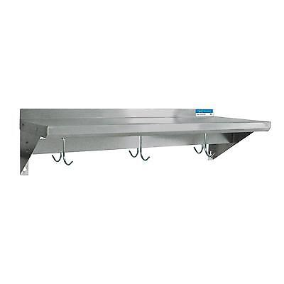 """BK Resources 96""""Wx16""""D Stainless Steel Wall Mount Economy Overshelf"""