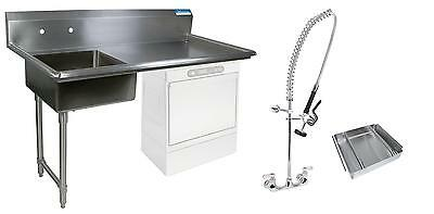 "BK Resources 50"" Undercounter Soiled Dishtable Left w/ Faucet & Basket"